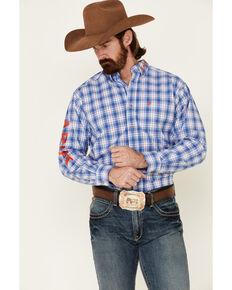 Ariat Men's Blain Team Plaid Long Sleeve Button-Down Western Shirt - Tall, Blue, hi-res