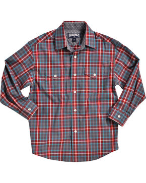 Panhandle Boys' Navy Yarndye Plaid Western Shirt , Navy, hi-res