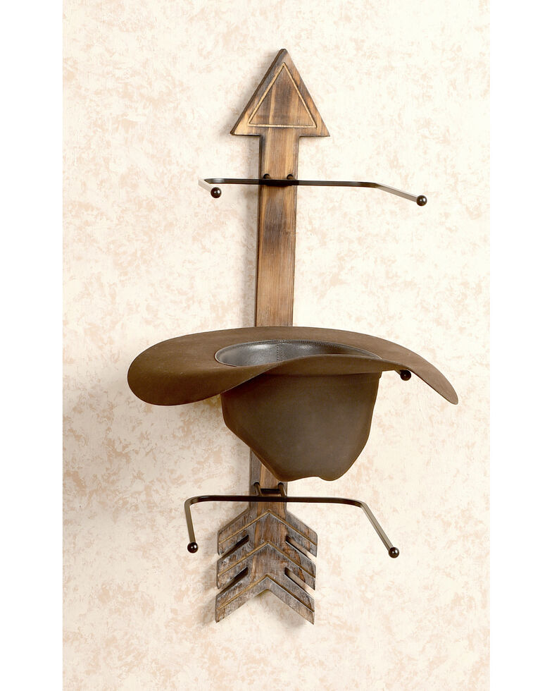 Boot Barn Ranch Arrow Wood And Metal Hat Rack, Brown, hi-res