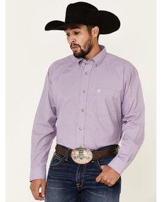 Ariat Men's Hugh Dobby Solid Long Sleeve Button Western Shirt - Tall , Purple, hi-res