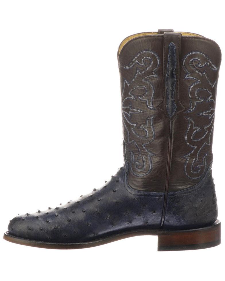 Lucchese Men's Hudson Exotic Western Boots - Medium Toe, Navy, hi-res