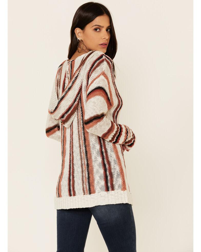 Rock & Roll Denim Women's Serape Striped Hooded Sweatshirt , Rust Copper, hi-res