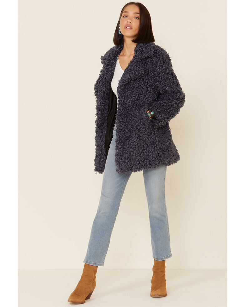 Angie Women's Blue Sherpa Lined Open Jacket , Blue, hi-res