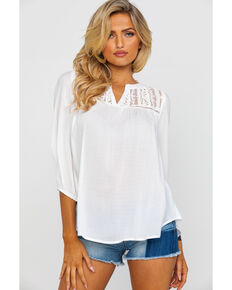 Panhandle Women's Red Label Notched Dobby Peasant Top , Natural, hi-res