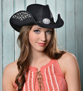 Bullhide Let's Get Loud Wool Cowgirl Hat, Black, hi-res