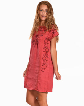 Johnny Was Women's Coral Oranda Mexican Shift Tunic Dress , Coral, hi-res