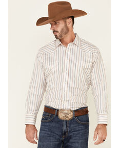 Panhandle Men's Tan Satin Dobby Stripe Long Sleeve Snap Western Shirt , Tan, hi-res