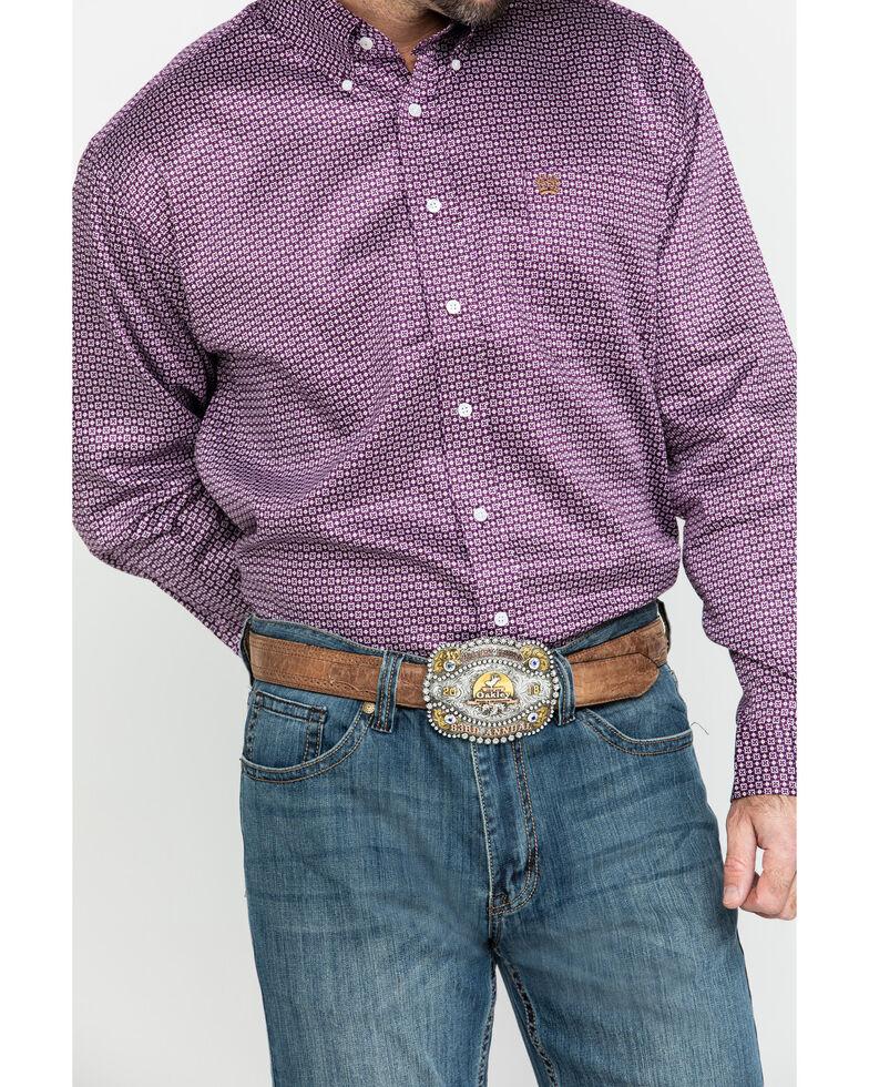 Cinch Men's Purple Small Geo Print Button Long Sleeve Western Shirt , Purple, hi-res