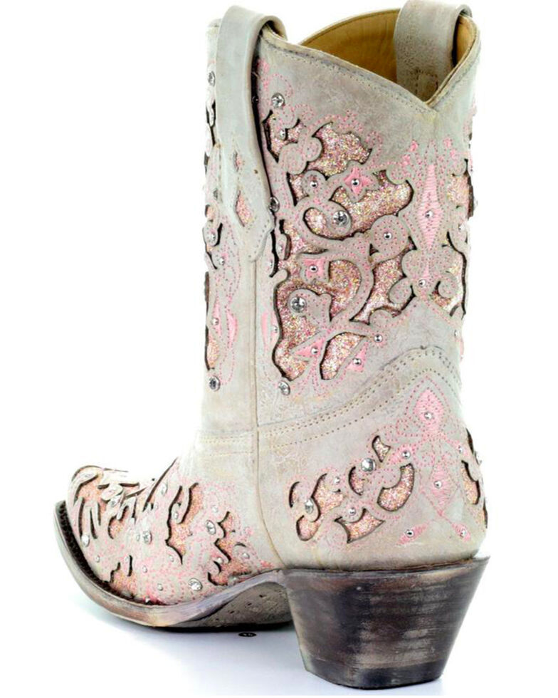 Corral Women's Metallic Pink Glitter Inlay & Crystal Boots - Snip Toe, White, hi-res