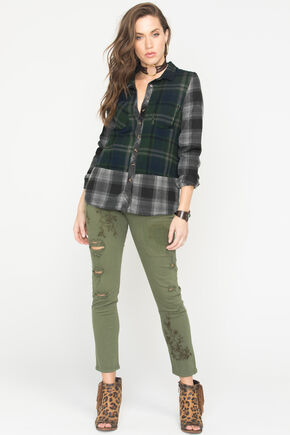 White Crow Women's Raven Plaid Flannel Shirt, Forest Green, hi-res