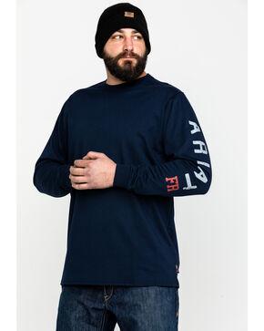 Ariat Men's FR Ascend Logo Long Sleeve Work Shirt - Tall , Navy, hi-res