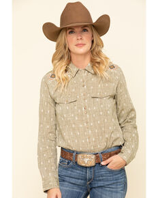 Shyanne Life Women's Olive Dobby Core Long Sleeve Western Shirt, Olive, hi-res