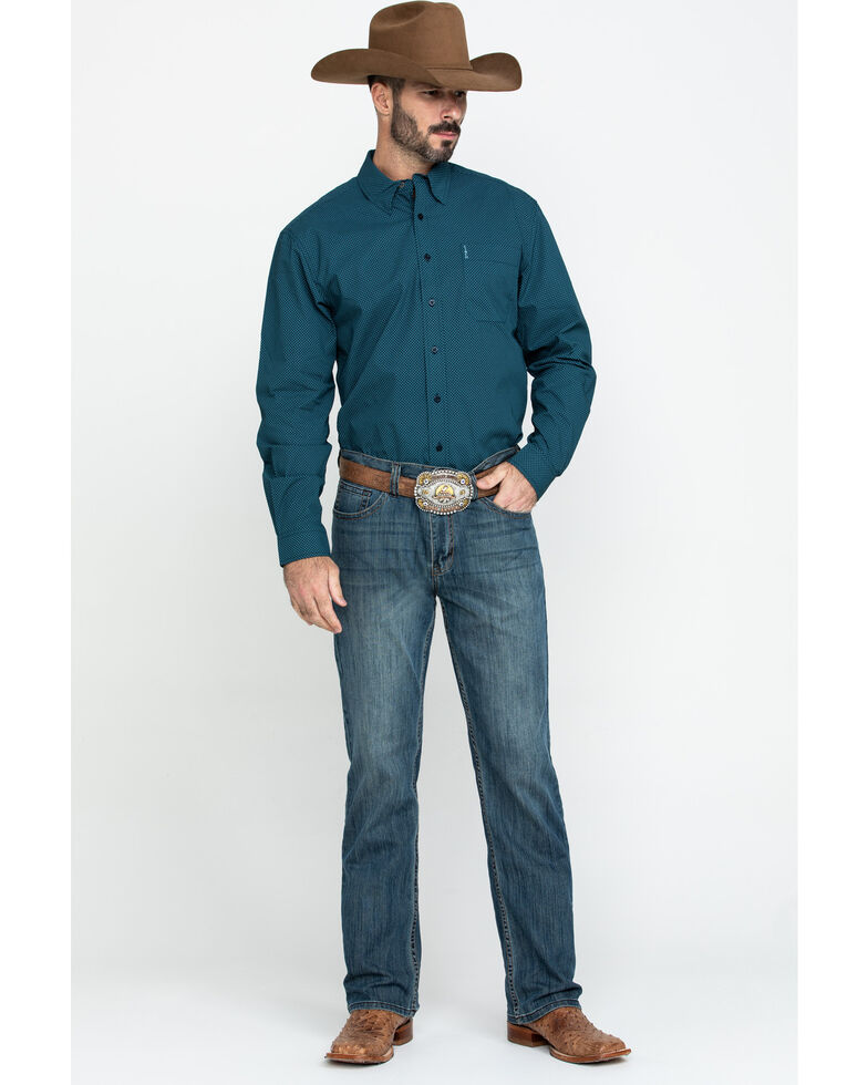 Cinch Men's Modern Fit Navy Geo Print Long Sleeve Western Shirt , Navy, hi-res