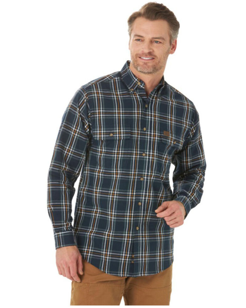 Wrangler Riggs Men's Navy Foreman Plaid Long Sleeve Button-Down Work Shirt , Navy, hi-res