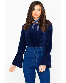 Elan Women's Navy Chenille Bell Sleeve Sweater, Navy, hi-res