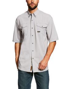 Ariat Men's Alloy Rebar Made Tough Vent Short Sleeve Work Shirt , Grey, hi-res