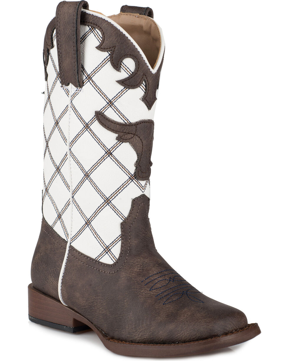 Roper Boys' Steerhead Diamond Stitch Cowboy Boots - Square Toe, Brown, hi-res
