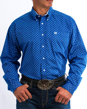 Cinch Men's Blue Dotted Square Print Western Shirt , Blue, hi-res
