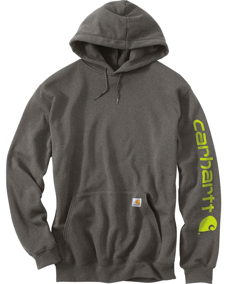 Carhartt Logo Hooded Sweatshirt, Medium Grey, hi-res