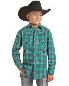 Rock & Roll Denim Boys' Teal Plaid Long Sleeve Western Shirt , Teal, hi-res