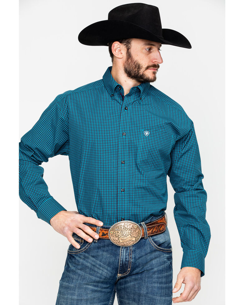 d421b3ab Zoomed Image Ariat Men's Flanagan Small Plaid Long Sleeve Western Shirt ,  Navy, hi-res