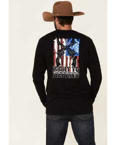 Cody James Men's Right To Defend Flag Graphic Long Sleeve T-Shirt , Black, hi-res