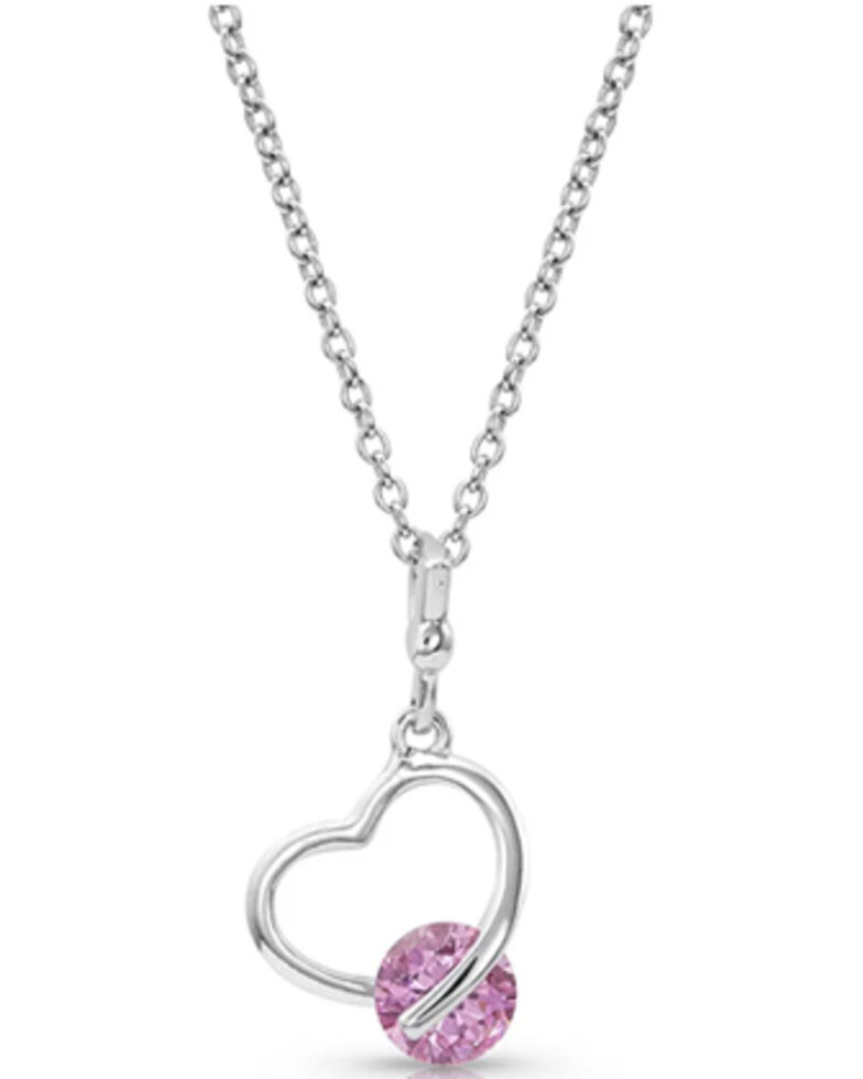 Montana Silversmiths Women's Tension Heart Necklace, Silver, hi-res