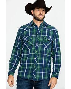 Resistol Men's Navarro Mills Plaid Long Sleeve Western Shirt , Navy, hi-res