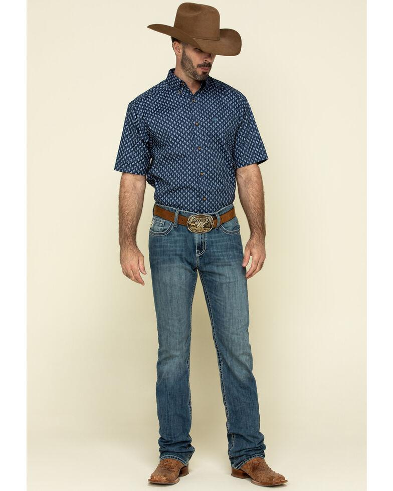 Ariat Men's Trussville Navy Geo Print Short Sleeve Western Shirt - Tall , Navy, hi-res