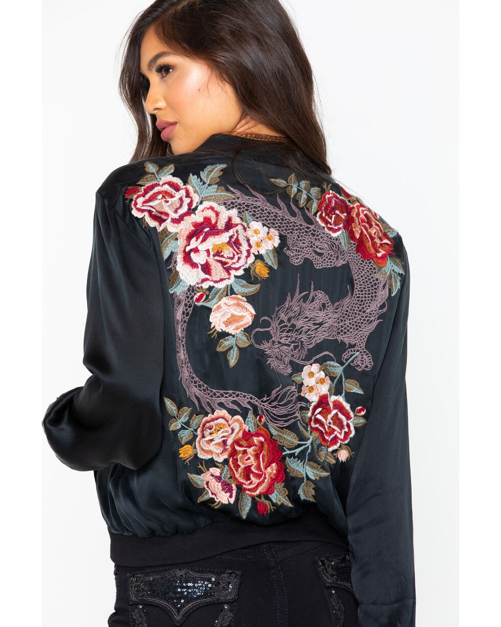 Johnny Was Women's Dragon Bomber Embroidered Jacket , Black, hi-res