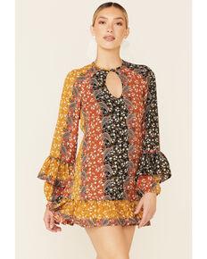 Shyanne Women's Boho Floral Stripe Peasant Dress, Black, hi-res