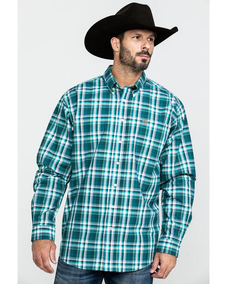 Cinch Men's Green Med Plaid Button Long Sleeve Western Shirt - Big , Green, hi-res