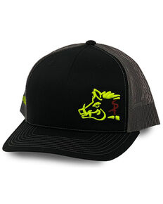 Oil Field Hats Men's Black & Yellow Sniper Pig Embroidered Mesh-Back Ball Cap , Yellow, hi-res