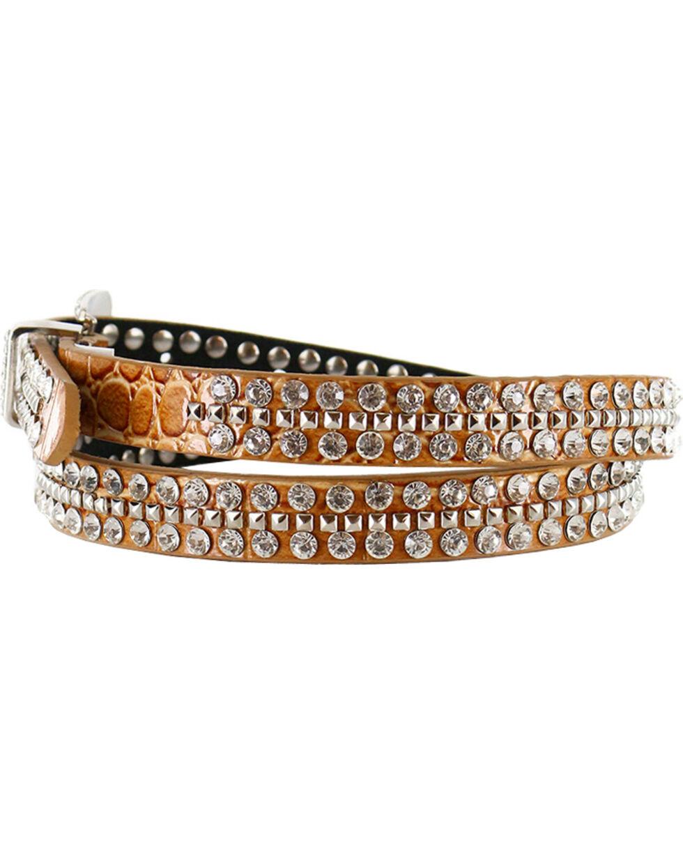 Shyanne Women's Rhinestone Skinny Belt, Light Brown, hi-res