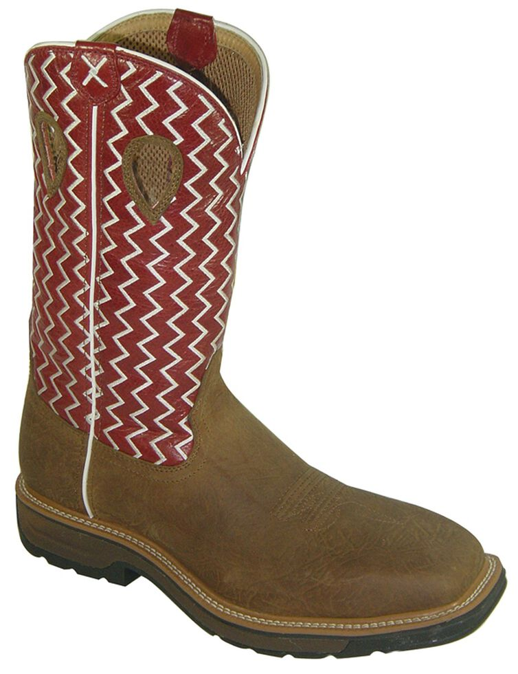 Twisted X Lite Pull-On Work Boots - Steel Toe, Distressed, hi-res
