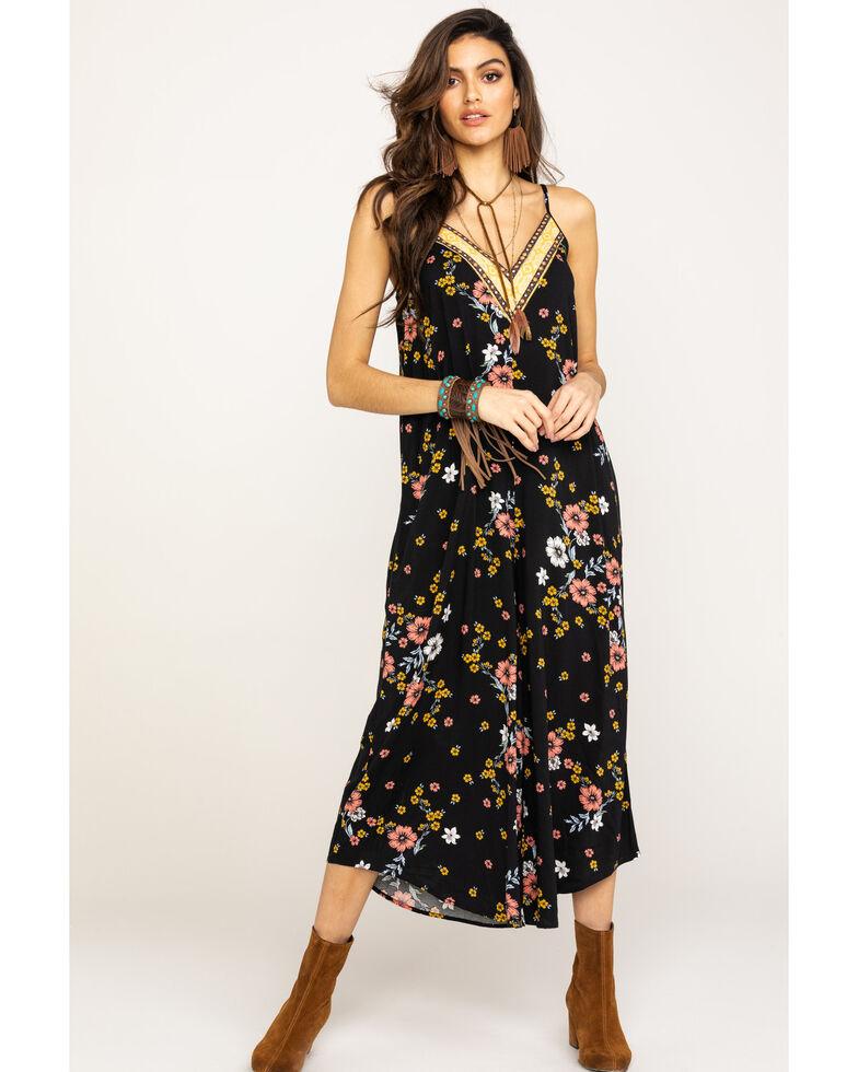 Eyeshadow Women's Black Floral Wide Leg Jumpsuit, Black, hi-res