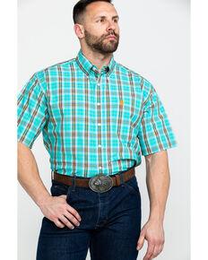 d7a50cf261 Cinch Men s Turquoise Plaid Short Sleeve Western Shirt