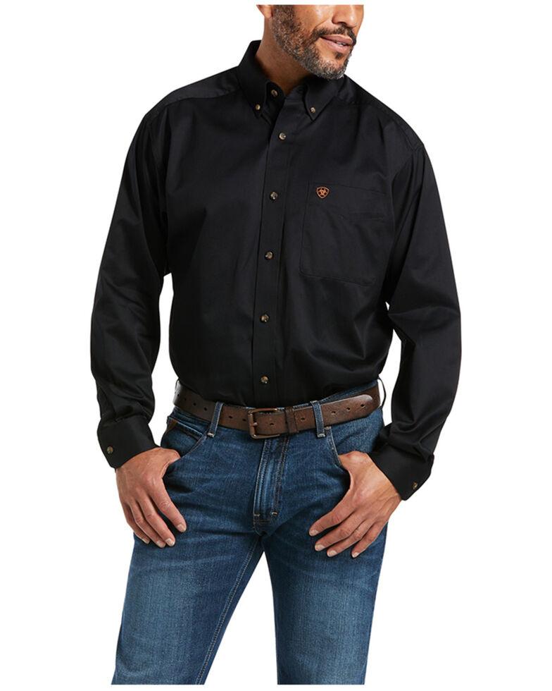 Ariat Men's Black Twill Long Sleeve Western Shirt - Big & Tall, Black, hi-res