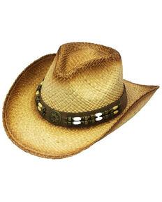 Henschel Men's Tan Daisetta Raffia Straw Western Outback Hat , Tan, hi-res