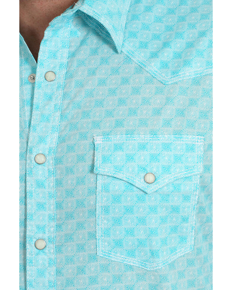 Wrangler 20X Men's Advanced Comfort Multi Geo Print Long Sleeve Western Shirt - Tall , Turquoise, hi-res