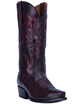 El Dorado Men's Handmade Black Cherry Calfskin Cowboy Boots - Snip Toe, Black Cherry, hi-res