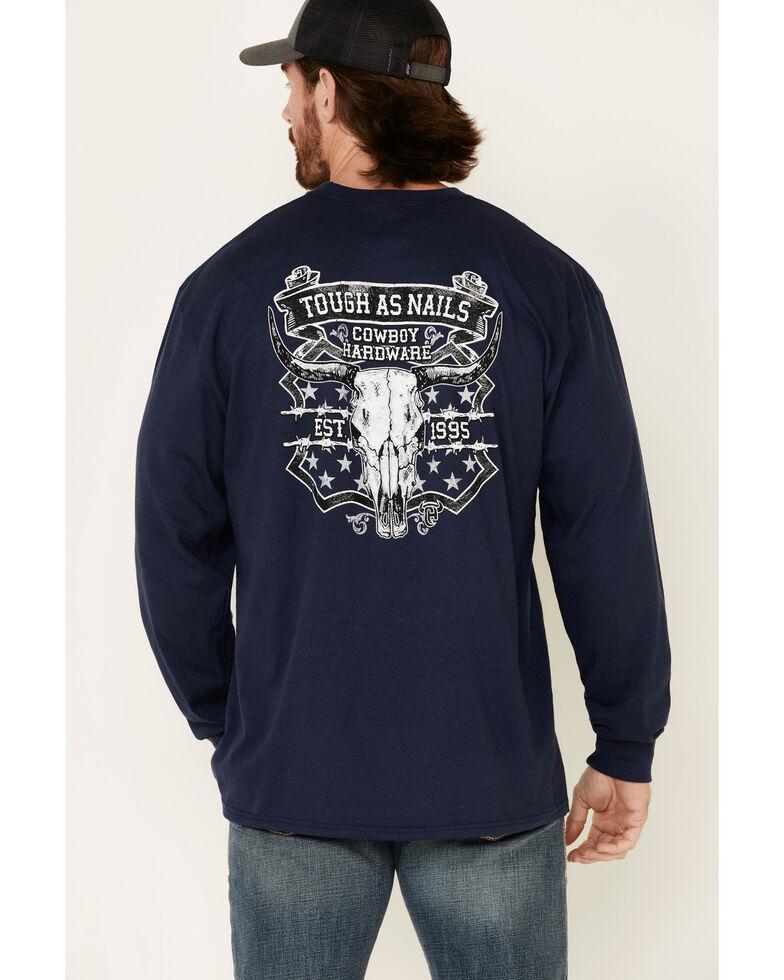 Cowboy Hardware Men's Navy Tough As Nails Graphic Long Sleeve T-Shirt , Navy, hi-res