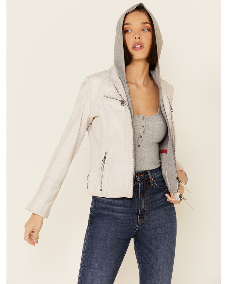 Mauritius Leather Women's Nola White Zip-Front Hooded Leather Jacket , White, hi-res
