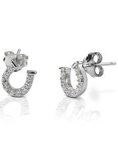 Kelly Herd Women's Clear Horseshoe Earrings , Silver, hi-res