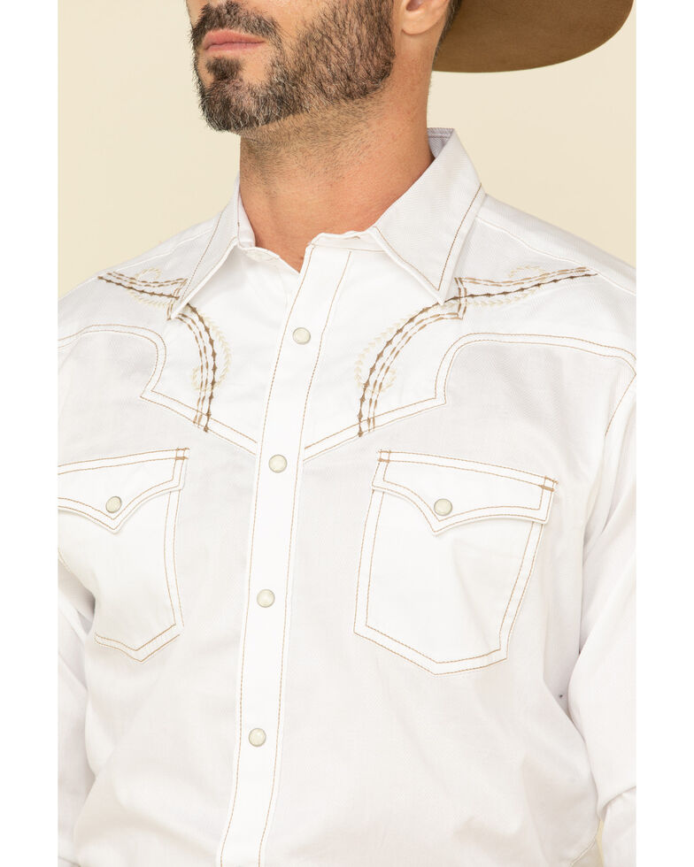 Rock 47 By Wrangler Men's White Embroidered Solid Long Sleeve Western Shirt , White, hi-res