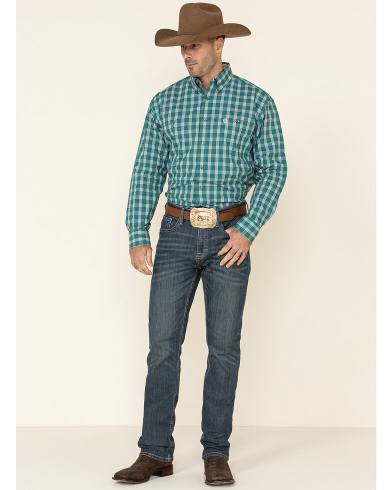 George Strait By Wrangler Men's Turquoise Plaid Long Sleeve Western Shirt , Turquoise, hi-res