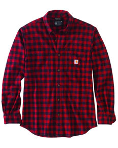 Carhartt Men's Red Plaid Long Sleeve Button-Down Work Shirt Jacket , Red, hi-res