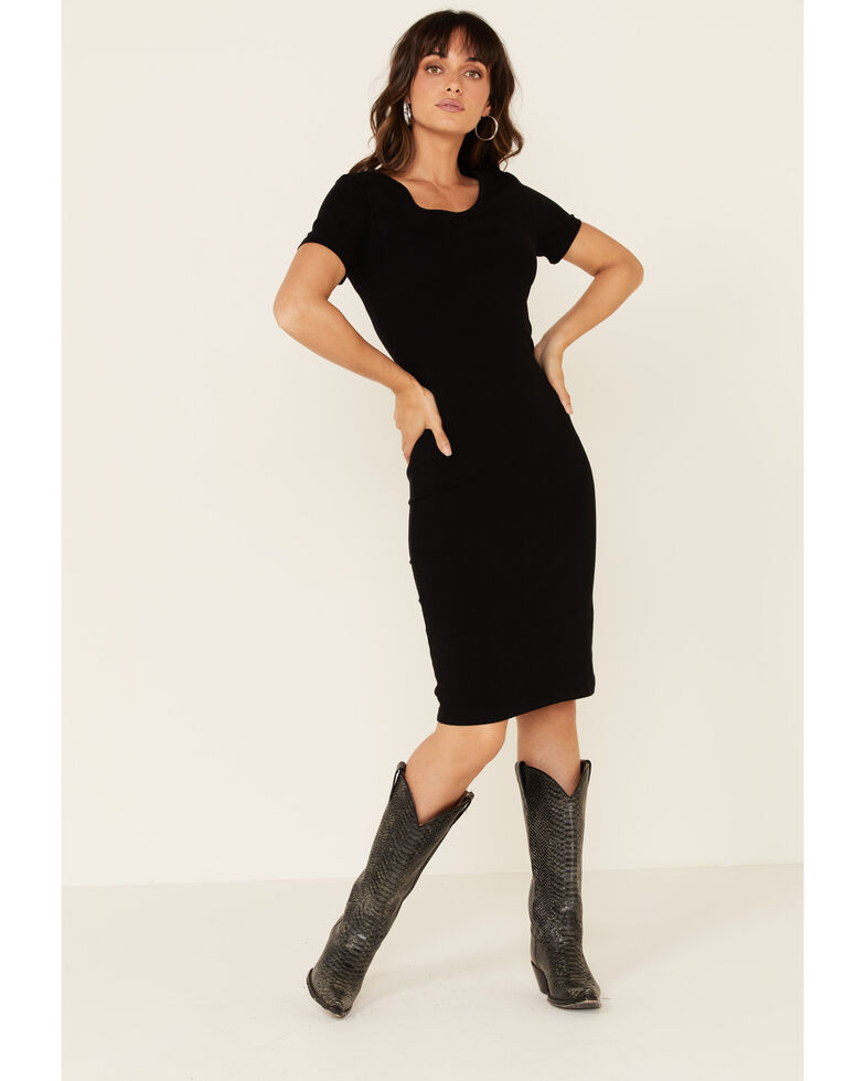 Panhandle Women's Scoop Neck Bodycon Dress, Black, hi-res