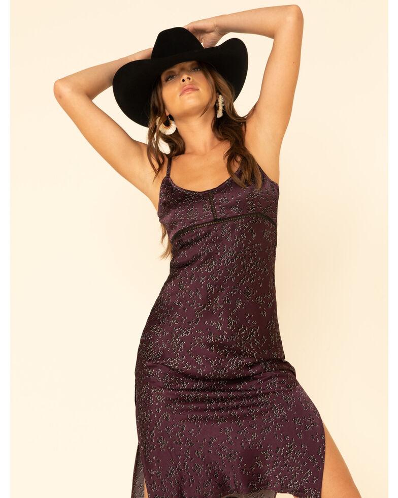 Shyanne Women's Purple Dot Print Satin Dress, Grape, hi-res