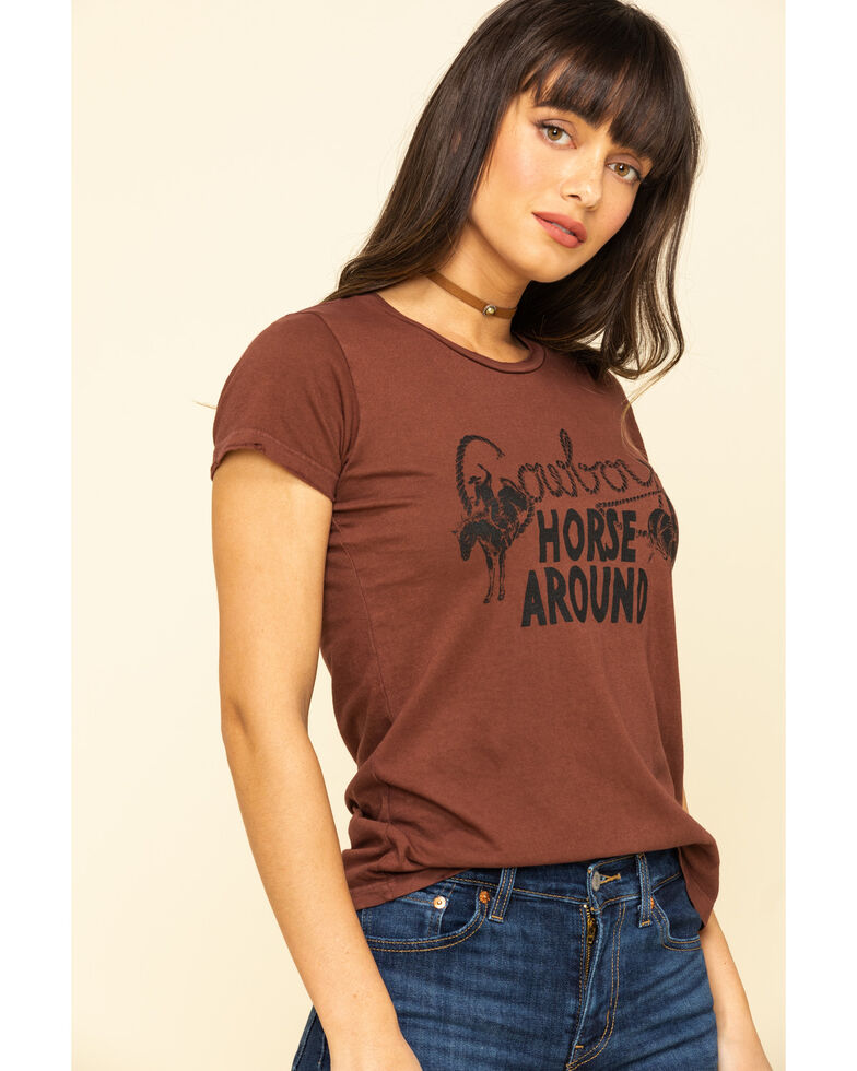 Bandit Brand Women's Cowboys Horse Around Graphic Short Sleeve Tee, Rust Copper, hi-res